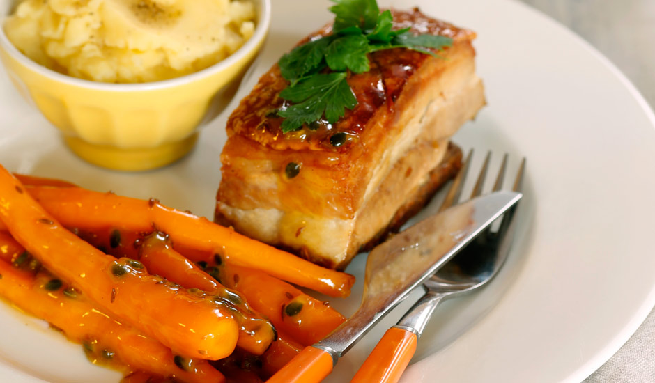 Twice-Cooked-Pork-Belly-with-Passionfruit-Carrots